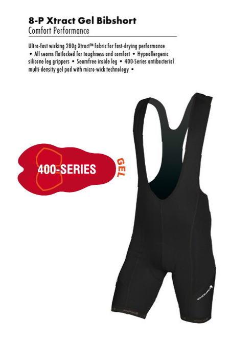 Endura Xtract 8 Panel Bib shorts with Gel Chamois Pade