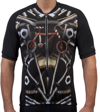 found bicycle parts for cycling jersey artwork