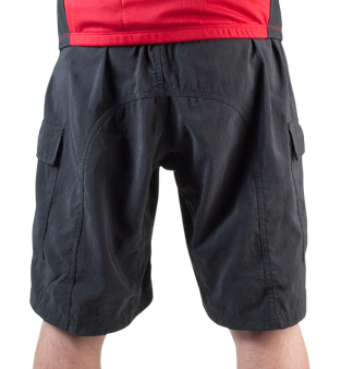 back view of loose fit bike shorts