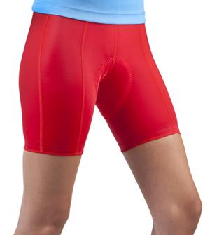 womens red padded bike shorts