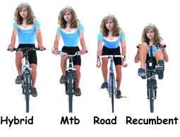 view the postures on a hybrid bike, mountain bike, road bike and recumbent bike