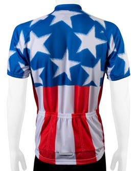 red white blue cycling jersey - back view