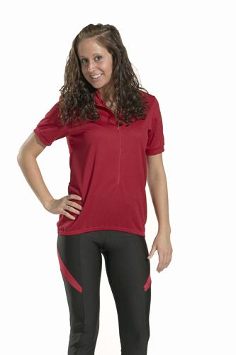 liz wearing red cycling jersey