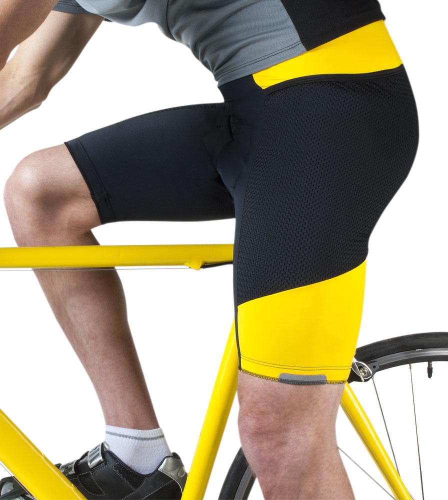 Men's Yellow Gel Touring Cycling Shorts Side View on The Bike