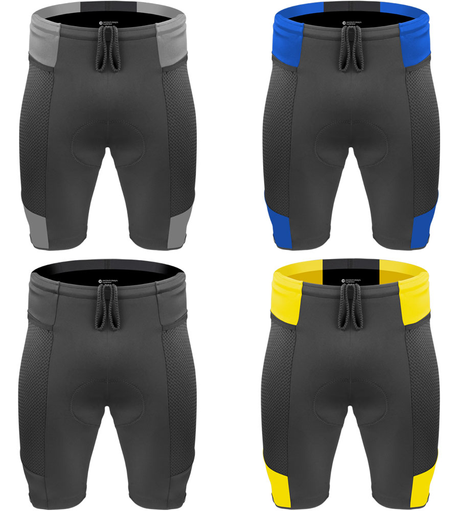 four colorways available, black, yellow, blue and charcoal