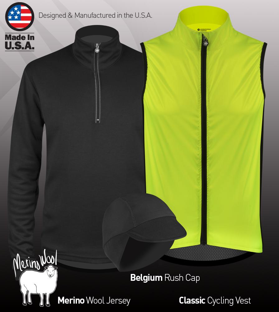 marino wool cycling jersey and windbreaker vest