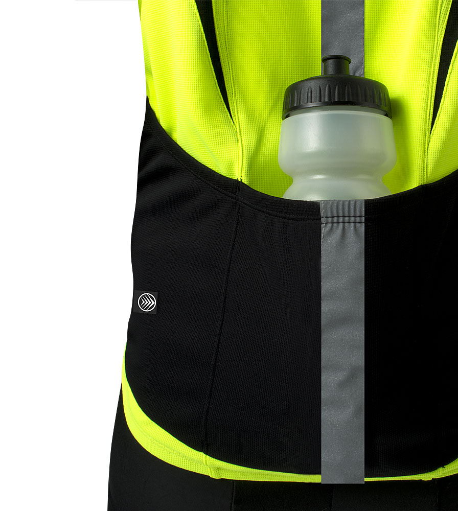 high visibility reflective safety bicycle jersey shown from rear pocket close up view