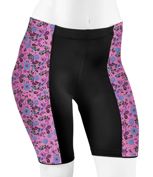 full figure pink paisley short front view