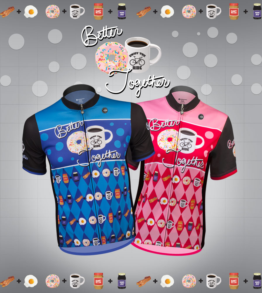 his and hers matching bike jersey for tandem riders blue and pink man and woman