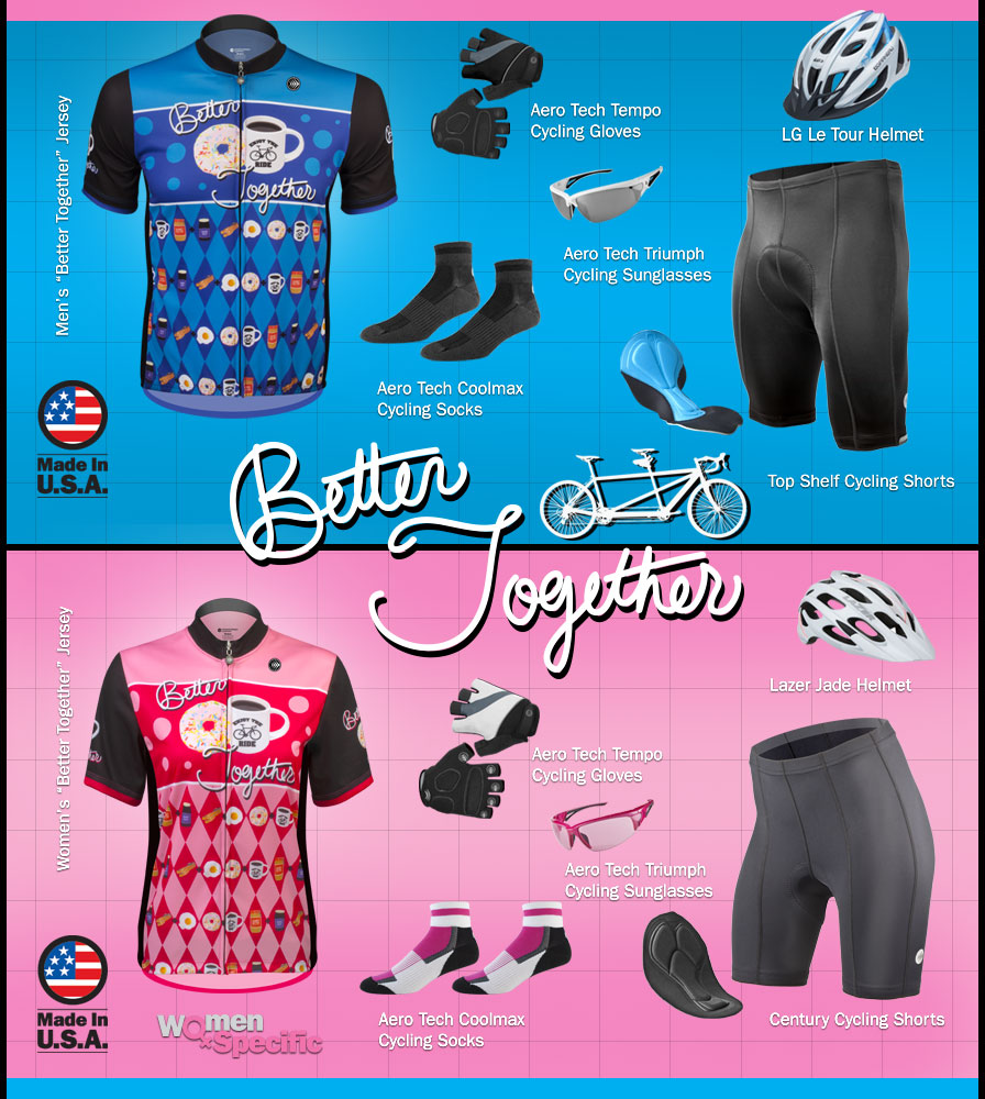 gear for tandem bike riders kits for tandem bikers his and her matching jersey and bike riding kits pink and blue jerseys that are made for men and women