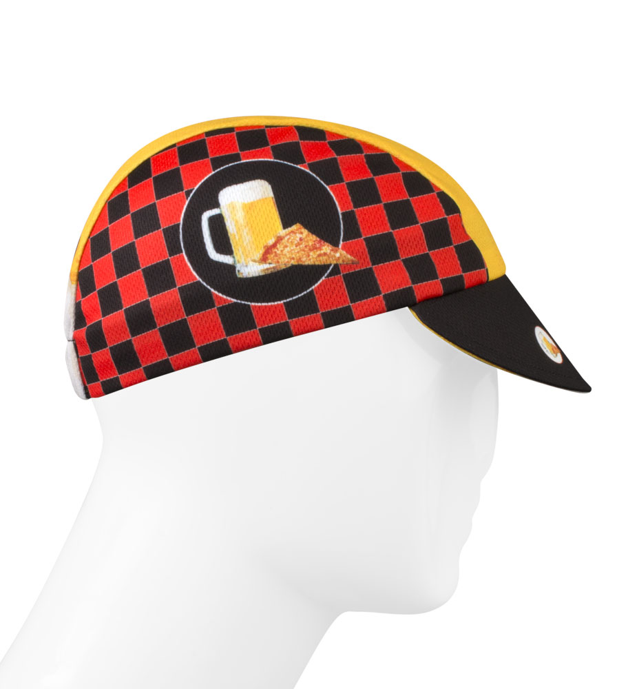 pizza and beer checkerboard cycling hat