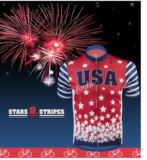 aero tech stars and stripes cycling jersey