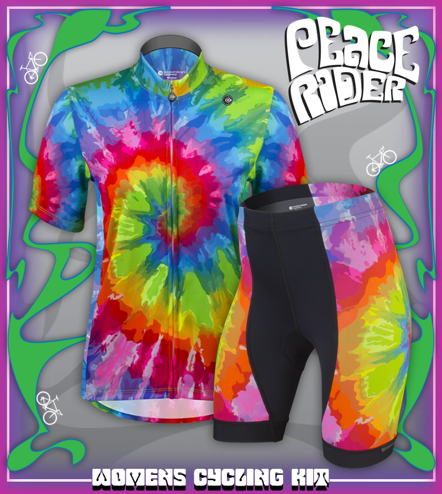 tie dye vibrant cycling kit