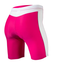 back view of pink tri short